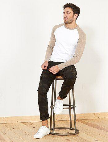 Tweekleurig fitted T-shirt met raglanmouwen - Kiabi