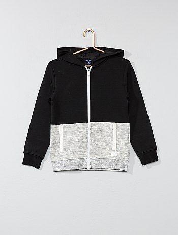 Tweekleurige sweater met ritssluiting en capuchon - Kiabi