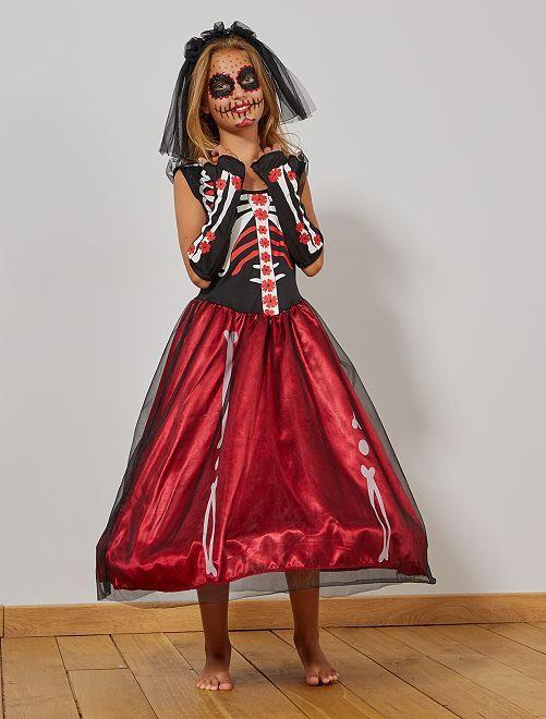 Verkleedkleding 'Día de Muertos'                             zwart / rood