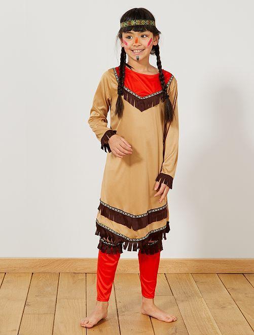 Verkleedkostuum indianenmeisje                             bruin