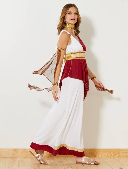 Verkleedkostuum van een Romeinse keizerin                             wit/rood/dora Dames