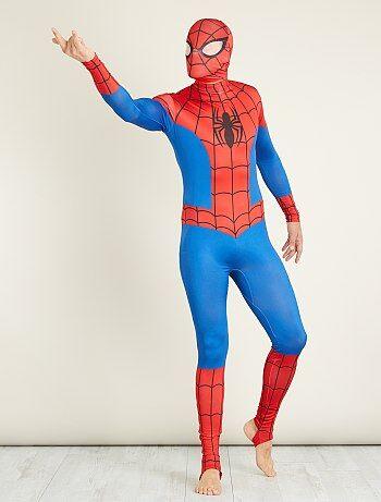 Heren - Verkleedkostuum van 'Spider-Man' tweede huid met bivakmuts - Kiabi