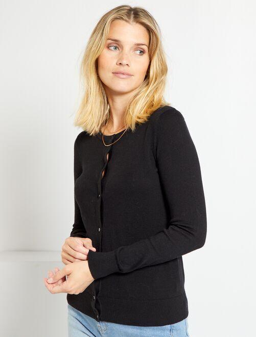 Vest met knopen van fijn tricot                                                                                                                     zwart