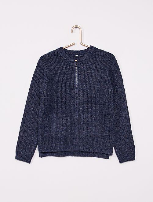 Vest van tricot met rits                                         BLAUW