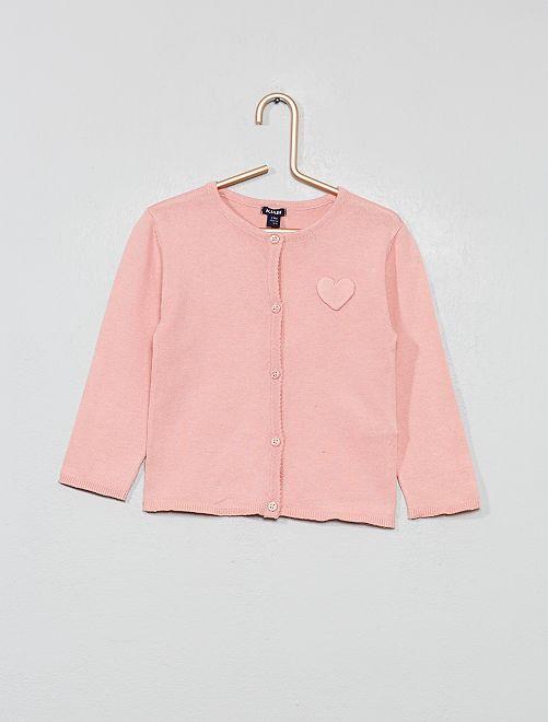 Vestje met een hartenapplicatie                                                                                                     roze Meisjes babykleding