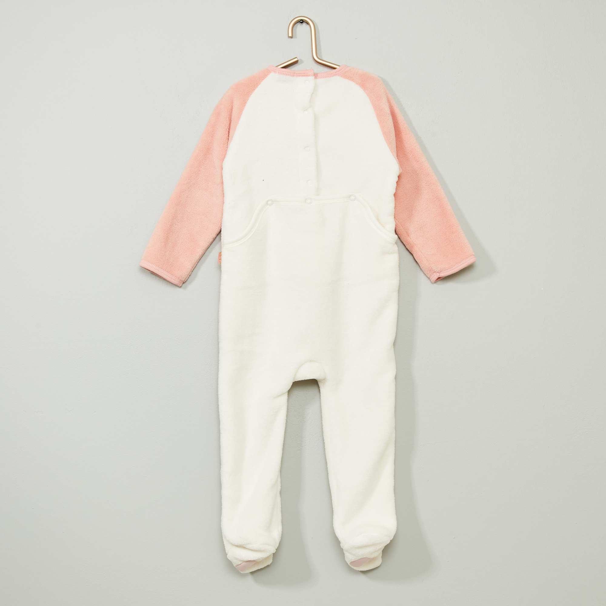 Fleece overpyjama met bloemenprint voor baby meisje