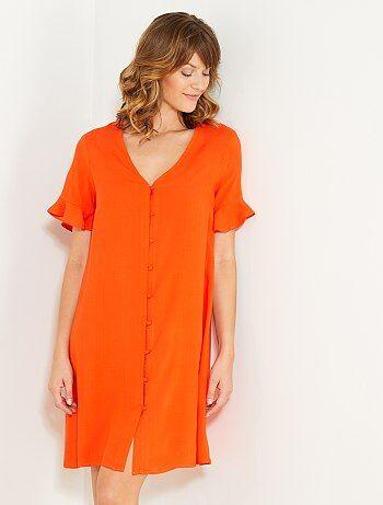 Wijde, soepelvallende jurk met knopen - Kiabi