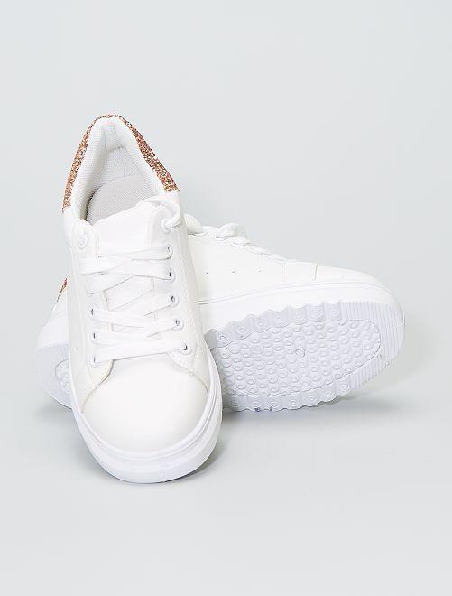 Witte sneakers met pailletten                     donkerbeige