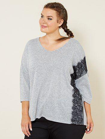 Dames Size+ - Zachte trui met kanten detail - Kiabi