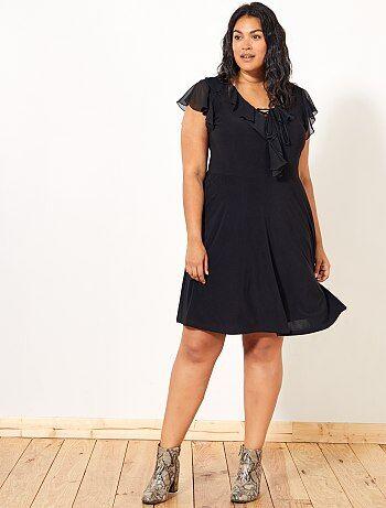 Dames Size+ - Zwarte jurk met ruches - Kiabi