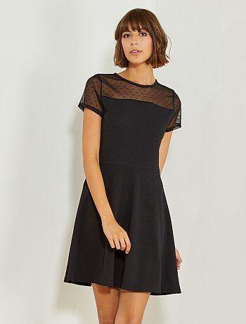 Zwarte jurk met stippen op het lijfje - Kiabi