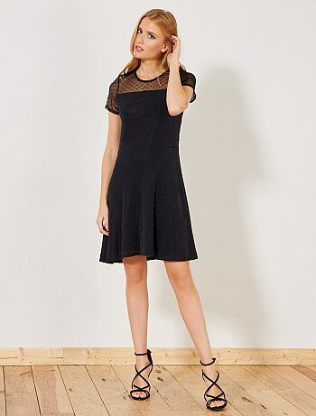 Zwarte jurk van verschillende stoffen - Kiabi